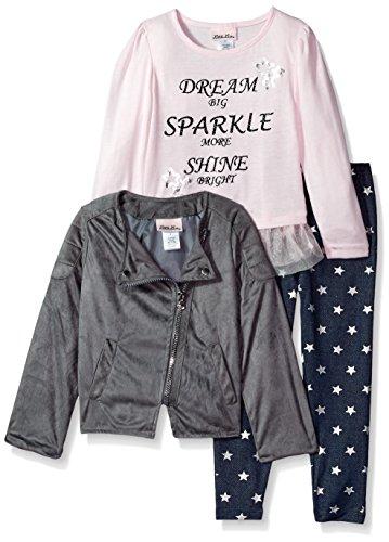 Little Lass Girls' Little 3 Pc Shine Bright Jacket Set, Pink/Grey, 5