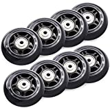 TOBWOLF 76mm 84A Inline Skate Wheels, 8 Pack Replacement Roller Skating Wheels for Girls & Boys Skate Wheels with Bearings ABEC 7 - Black