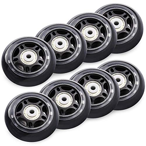 TOBWOLF 8 Pack 70mm 82A Indoor Inline Skate Replacement Wheels, Indoor Skating Wheels with ABEC-7 Bearings, Luggage Wheels, Training Wheels for Scooter - Black