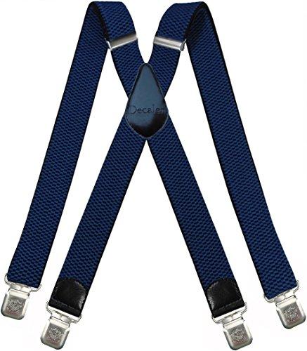 Decalen Hosenträger für Herren breit extra starken 4 cm mit 4er Clips X-Form Lange für Männer und Damen Hose (Blau)