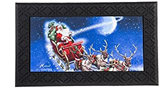 Evergreen Flying Santa Indoor/Outdoor Safe Entry Way LED Musical Doorway Mat, 30 x 18 inches