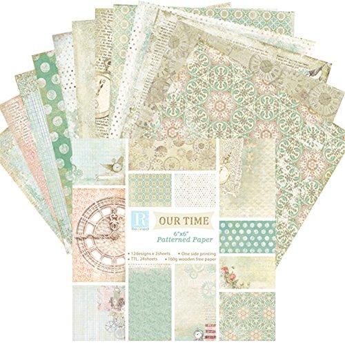 Somedays 24pcs Hintergrundpapier Designpapier, Bastelpapier, Dekorpapier für DIY handgemachte Karten, Vatertagskarten, Blumenmuster, 6 Zoll,Material: weiße Karte + zweiseitiges Offsetpapier