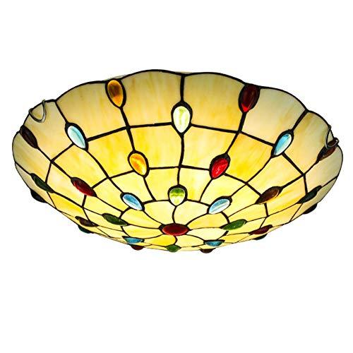 Jay Cuentas Europeas Tiffany Accesorios de Luces de Techo Lámpara de Techo de Estilo mediterráneo Amarillo Simple Moderno Montaje Empotrado Pantalla Redonda Sala de Estar Dormitorio Decoración,40cm