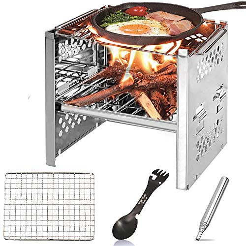 PSKOOK Edelstahl Campingkocher Holzofen für Outdoor Picknick BBQ leicht Backpacking Herd Mini Camping Grill (Type 1 with Pocket Bellow)