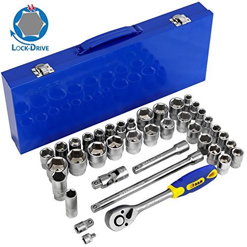 S&R Steckschlüsselsatz INDUSTRIE 1/2 Zoll 39-teilig mit LOCK-DRIVE Profil Knarrenkasten, Werkzeugkoffer gefüllt 1/2