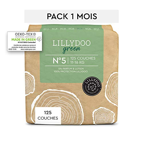 Couches LILLYDOO green - Taille 5 (11-16 kg) - 125 couches - Pack 1 mois