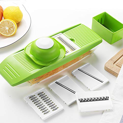 Vegetable Chopper Manual,Multifunctional Onion Mincer Chopper Dicer Salad Food Chopper Spiralizer with Container,5 Blades Mandoline Slicer Cutter for Carrot Cucumber Potato Tomato-Green 30x9.5x5.5cm(1