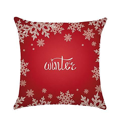 Ogquaton - Funda de Almohada de Lino y algodón, diseño de Copo de Nieve, decoración para el hogar, Oficina, Sala de Estar