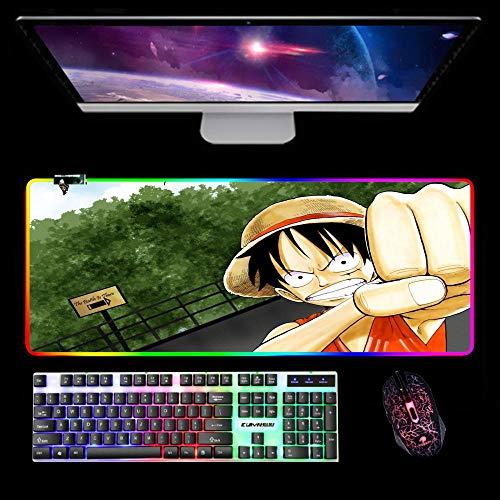 Alfombrilla De Ratón RGB Alfombrilla De Ratón Accesorios De Ordenador De Anime De Una Pieza Diseño De Alfombrilla De Ratón para Juegos Led 14 Modos De Iluminación B 1000X500Mm