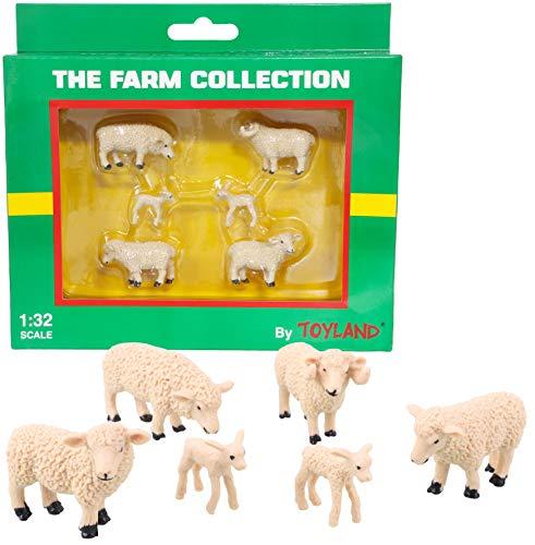 TOYLAND® Pack de 6 Figuras de Animales de ovejas y corderos a Escala 1:32 - The Farm Collection - Figuras de Animales coleccionables