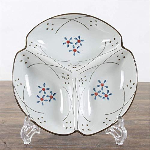LILICEN Japonés Pintado a Mano de cerámica Antiguo Vajilla Compartimiento de la Placa de cerámica 21X3.5Cm Placa vidriado de Color de Tres de cuadrícula