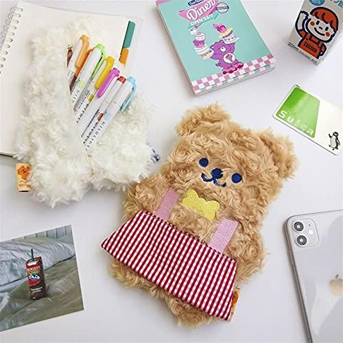 KHAILIUB Cartuchera Súper Lindo brusco Conejo Oso de lápiz Bolsa de lápiz Bolsa de lápiz Bolsa de Almacenamiento Kawaii Escuela papelería Bolso del lápiz (Color : Brown Bear)