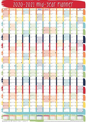 Large A1 Academic Wall Planner Calendar 2020-2021 - Stripes