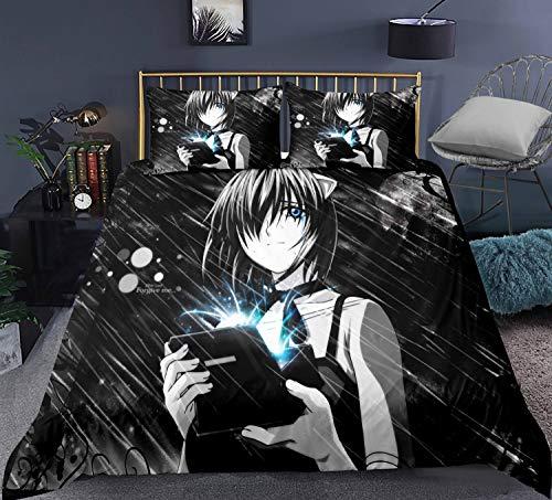 YUBAIBA Japanischer Anime Quilt Cover, Elfen Lied, 3D Printed Bettbezug, Doppelbettbezug, dreiteilige Bettwäsche, Kindergeburtstag/Urlaub/Geschenk (Color : B, Größe : EU Twin Single (140x200cm))