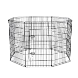 Dog Exercise Pen Pet Playpens for Dogs - Puppy Playpen Outdoor Back or Front Yard Fence Cage Fencing Doggie Rabbit Cats Playpens Outside Fences with Door - Metal Wire 8-Panel Foldable (42' Inches)