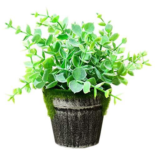 Creatwls - arbusto artificial de bonsái para decoración de plantas de casa artificial en macetas, para interiores o oficinas y baño