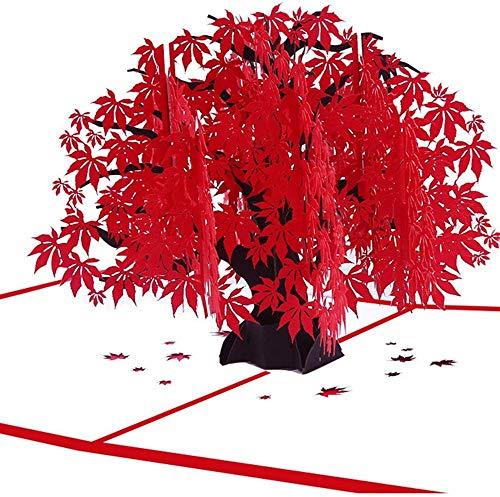 Suu 誕生日カード 記念日カード メッセージカード グリーティングカード プレゼント ポップアップ型 3D立体 繊細作り サプライズ ドキドキ ロマンチック 癒し ユニーク 家族 恋人 先輩 友人 気持ち伝え 封筒付き (紅葉)