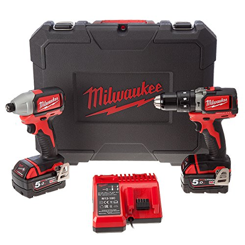 Milwaukee 4933448451 rapano Percussione + Avvitatore M18 Brushless 5Ah 18V, 18 V, Red