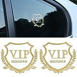 car Aluminum sheet VIP car sticker, metal car sticker decoration modified logo car sticker (gold)