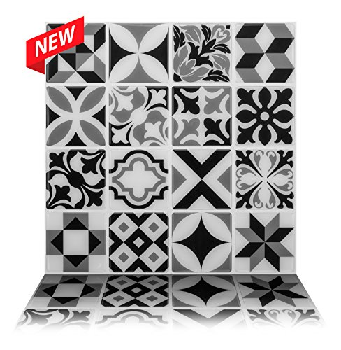 Tic Tac Tiles cáscara de Anti-Moho y azulejo de la Pared Palo en Marruecos Mono 5 10 x 10 Gris Claro, Gris Oscuro, Negro