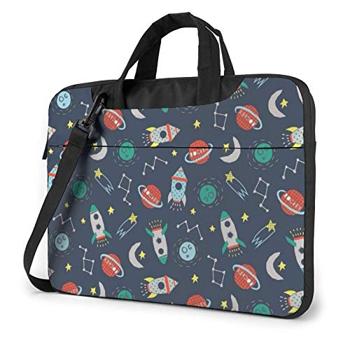 Laptop Shoulder Messenger Bag Rocket Clipart Space Ship Printed Case Sleeve for 15.6 Inch Laptop Case Laptop Briefcase