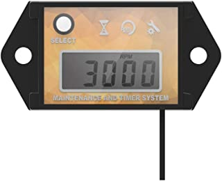 Runleader Digital Hour Meter Tachometer, Maintenance Reminder, Max RPM Recall, User shutdown, Use for ZTR Lawn Mower Tractor Generator Marine Outboard ATV Jetski Motor and Gas Powered Equi(YELLOW)