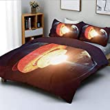 Juego de funda nórdica, estructura del núcleo de la tierra Magma ardiente Gemagnética Tectónica dividida Decoración Decorativa Juego de cama de 3 piezas con 2 fundas de almohada, naranja índigo amaril