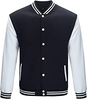 TRIFUNESS Varsity Jacket Letterman Jacket Baseball Jacket with Long Sleeve Banded Collar