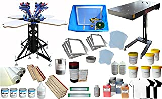 TECHTONGDA 4 Color Screen Printing Press Kit Machine Equipment Silk Screen Printing 4 Color Screen Printing Press Kit 4 Station Printing Machine