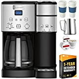 Cuisinart SS-15 12-Cup Coffee Maker and Single-Serve Brewer, Stainless Bundle w/Single Serve Pods, Carafe, to Go Cups and Extended Warranty
