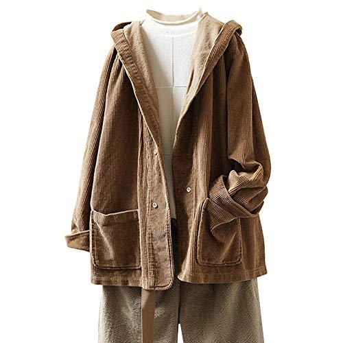 YEBIRAL Damen Herbst Frühling Cordjacke Lässig Bequem Mantel Jacke mit Kapuze Langarm Kapuzenjacke Sweatshirt Oversize Coat(4XL,Braun)