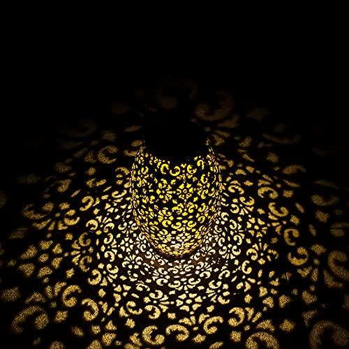 TOGAVE Solarlaterne für Außen, LED Solar Laternen Licht IP44 Wasserdicht Solar Lampe Muster Solarleuchten Solarbetriebene Gartenbeleuchtung Dekoration für Garten,Terrasse,Hof - Warmweiß