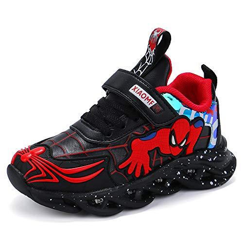 Spider man Leuchtschuhe Kinder Turnschuhe Jungen und Mädchen Kinder Laufschuhe Sportschuhe Leichte Casual Sneakers Wasserdicht Leder Sneakers (Große Kinder), Schwarz - Schwarz - Größe: 26 EU
