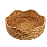 AMOLOLO Handmade Rattan Round Fruit Basket Food Storage Bowls Kitchen Organizer Snack Serving Bowl (Large 11