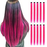 RINBOOOL Pink Hair Extensions Clip in, 22 Inch 10 Pcs Long Straight Colored, for Kids Girls Women Highlight Party, Synthetic