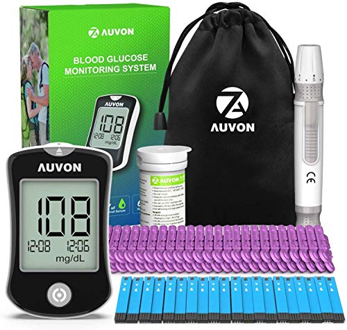 AUVON DS-W Blood Sugar Kit (No Coding Required), High-Tech Diabetes Blood Glucose Meter with 50 Test Strips, 50 30G Lancets, and Lancing Device by AUVON
