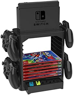 Multifunctional Game Disk Storage Tower Holder Compatible with Nintendo Switch Console and Game Storage Tower Bracket Stan...