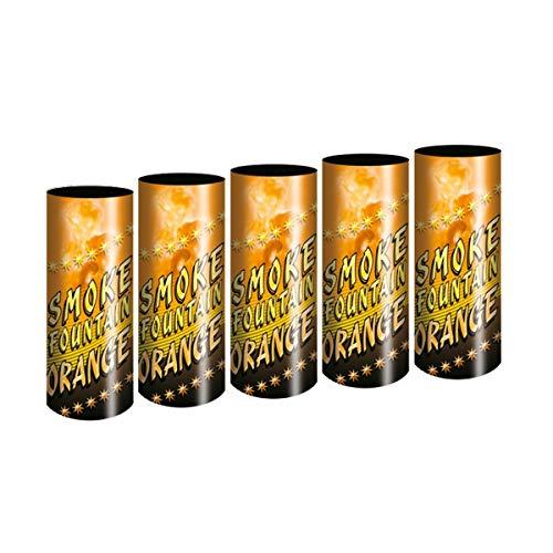 5 Stück Bengalo Rauch Vulkan Fontäne Party Feuerwerk Rauchfarbe orange/Ganzjahresfeuerwerk Kat T1/F1