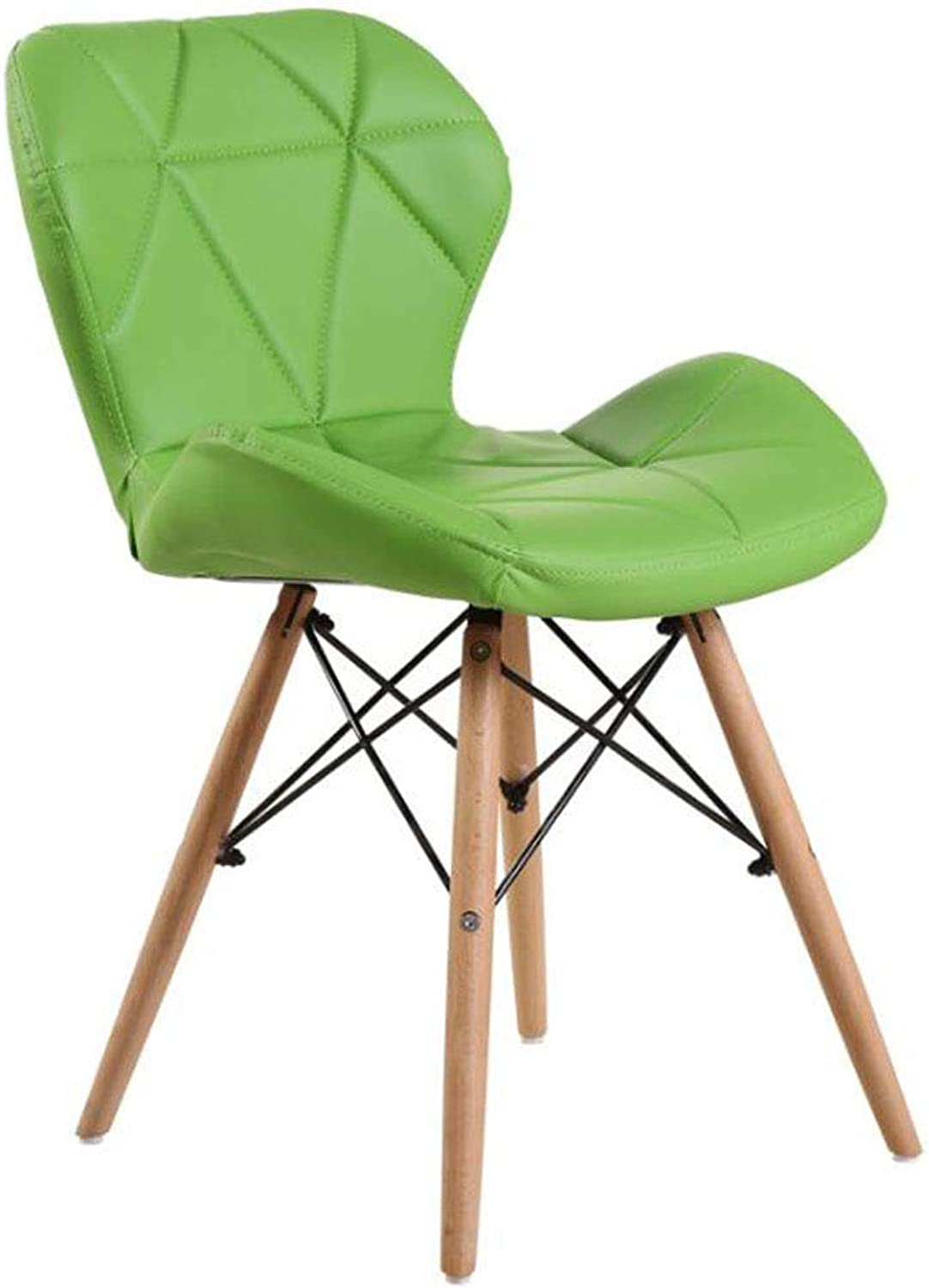Computer Chair Household Dining Chair Cafe Backrest Chair Solid Wood Soft Bag Office Chair (color   Green)