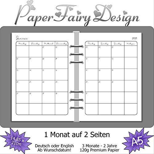 Kalendereinlagen 2020/2021/2022 - DIN A5 (14.8cm x 21cm) - 1 Monat auf 2 Seiten - 120g Premium Papier