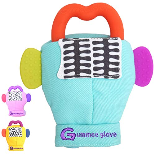 Gummee Glove Teething Mitten for Babies 3-6 Months Detachable Teether Teething Ring Baby Shower Gift Premium Quality 100% Cotton and Food Grade Silicone EN71 Tested Perfect Teething