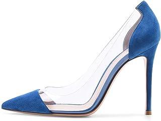 Dames Stilettopumps, Damesschoenen Met Spitse Neus En Hoge Hak, Leren Schoenen Met Superhoge Hakken Van 12 Cm,Blue,45 EU