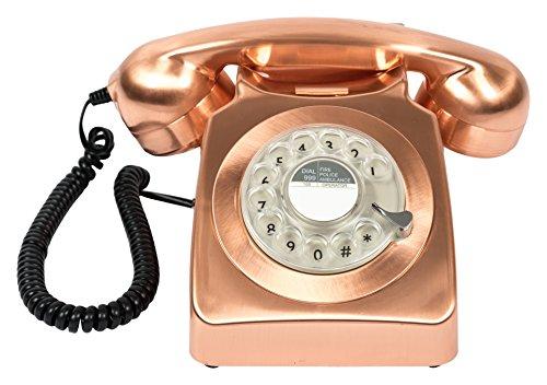 GPO 746 Teléfono Fijo de Disco con Estilo Retro de los años 70 - Cable en Espiral, Timbre auténtico - Bronce