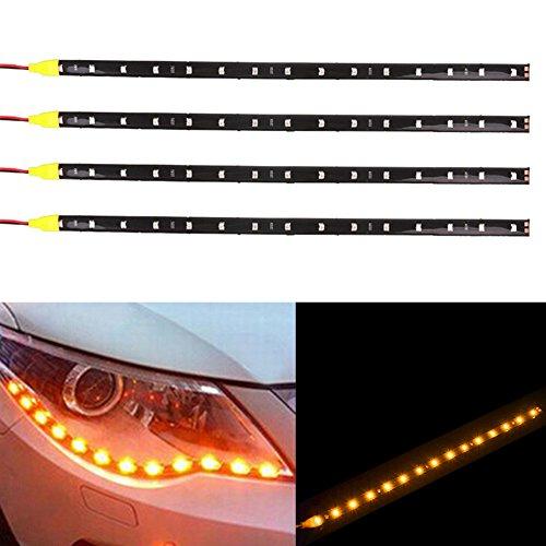 TABEN Lot de 4 bandes lumineuses LED flexibles 12 V pour voiture et moto 30 cm Ambre 1210-15SMD