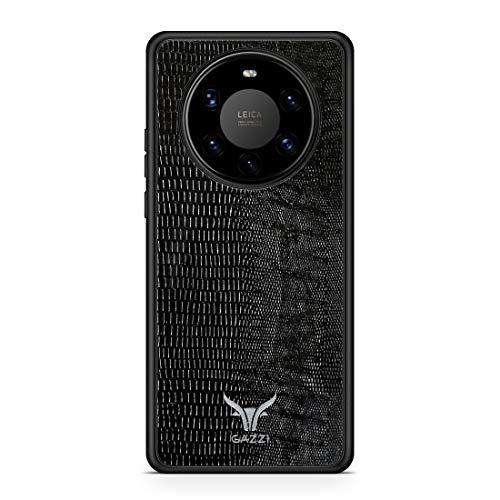 GAZZI Lederhülle für Huawei Mate 40 PRO Hülle Hülle Schale Backcover Handyhülle Schutzhülle Echt Leder, R&umschutz, Flexible Schale (Lizard Schwarz Silber)