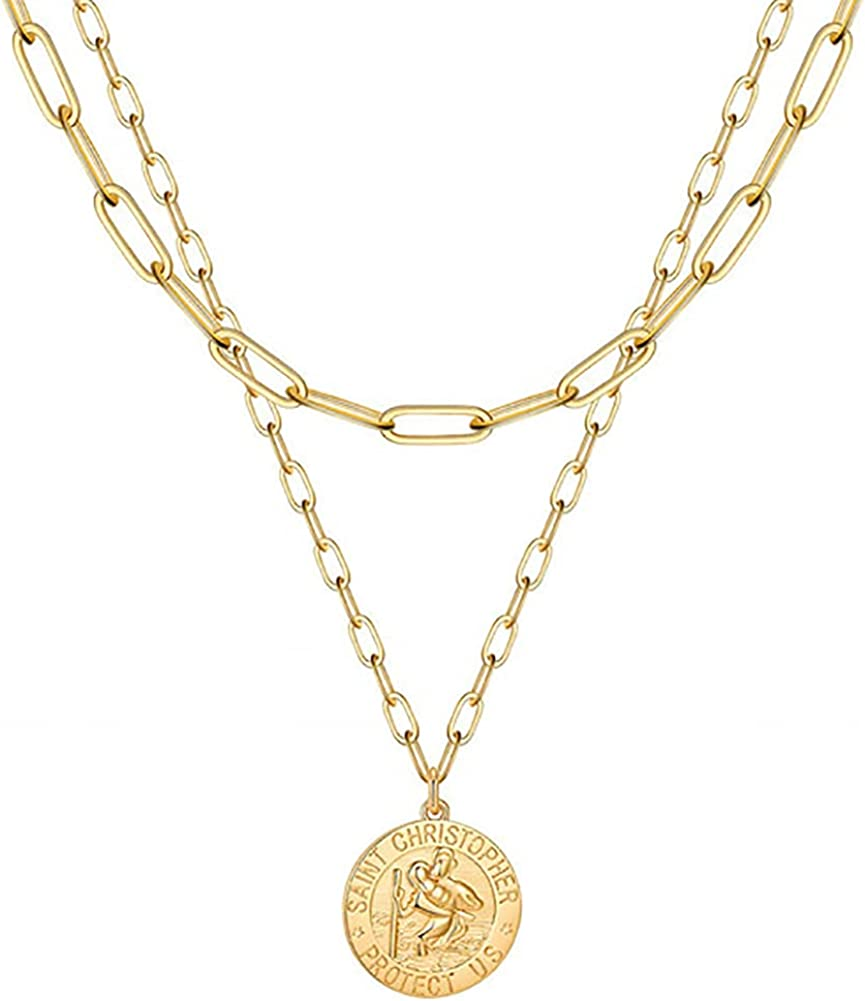 nylry 14K Gold Plated Layered Necklaces Coin Pendant Necklace Paperclip Chain Saint Christopher Medal Bee Layering Double Side Engraved Necklaces Queen Elizabeth Sun Medallion Choker for Women Girls