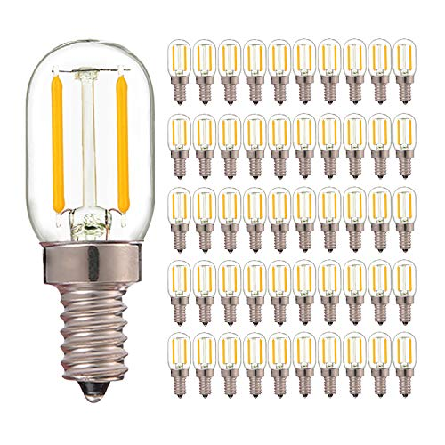 50 Pack, T20 Radio Frigorifero Lampada 1W Super Warm 2200K Retro LED Filament Bulb 10 Watt Equivalente Vintage Tubular Night Light Bulbo E14 Base 220V Dimmable Bulbs