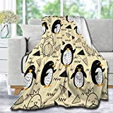 Lynnezilla Cute Antarctic Creature Penguin Throw Blanket,Ultra Soft Fuzzy Warm Throws for Winter Bedding,Couch and Plush House Warming Decor Gift Idea Large 80X60in for Adults
