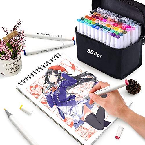 Yetech 80pcs Arte Dibujo Marcadores de Punta Doble Sketch Marker Set Rotuladores permanentes de doble punta con bolsa negra y paquete de regalo.