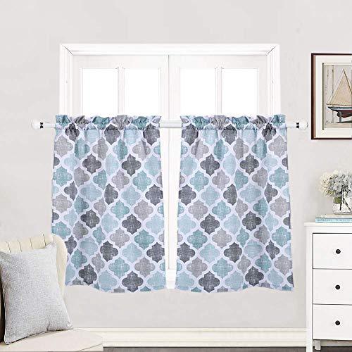Haperlare Tier Curtains, Geometric Pattern Short...